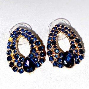 VTG- Blue Gem Teardrop Art Deco Earrings